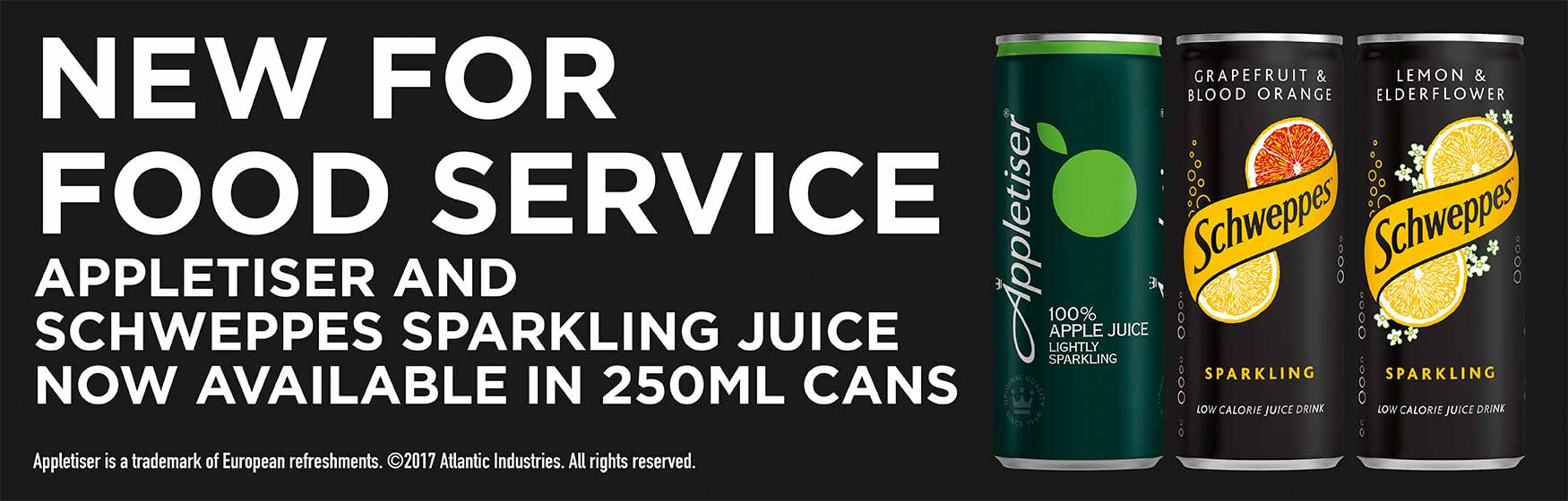New for Food Service: Appletiser and Schweppes Sparkling Juice now available in 250ml cans